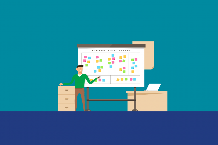 =MC Consulting | Developing A Business Canvas Model - Illustration of a man in an office pointing to a strategy whiteboard